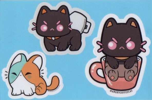 Angry Coffee Cat Sticker Sheet Sticker Pack by Oscar Rosales